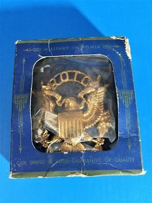 Vintage VIETNAM WAR ERA US Army ROTC Hat Badge SHIELD EAGLE N.S. Meyer