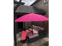Geisha Garden Parasol 2.7m Diameter Pink (Brand New)