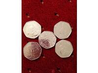 beatrix potter set of 5 coins uncirculated