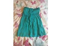 Turquoise strapless top new look size 8