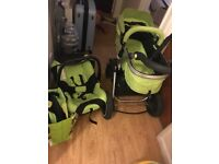 ISafe Complete travel system including newborn-3 years pram and baby car seat with isofix base
