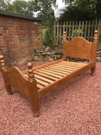 3ft Chunky Antique Pine Bed