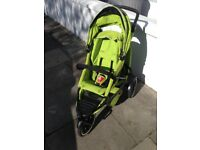 Phil & Ted's Lime Green Double Explorer buggy (& lots of accessories!)