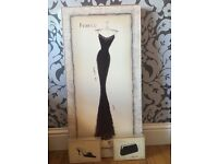 Vintage style box print evening dress, separate shoe and handbag box print