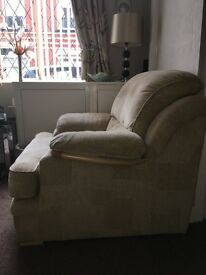 Cream Tweed Couch & Chair