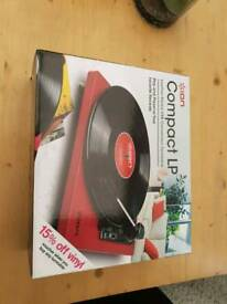 Red Leather ION Compact Turntable