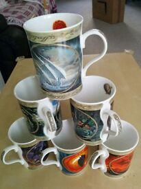 Danbury mint lord of the ring fine bone china mugs set of 6