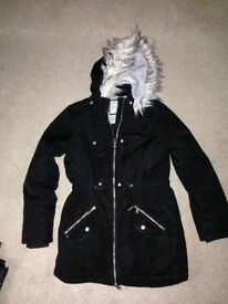 Girls black coat 13-14 years