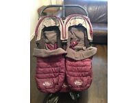 baby jogger double with cosy toes and rain cover