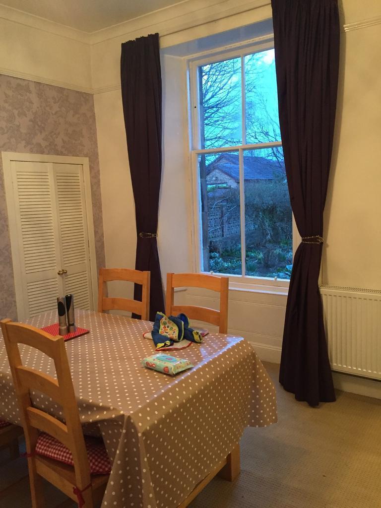 Purple full length sash window curtains