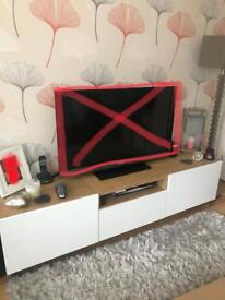Ikea Besta TV Bench and Sideboard Oak and White