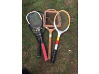 Retro vintage tennis rackets