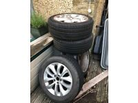 """4 x 19"""" alloy wheels with tyres + 1 x 17"""" wheel with tyre - FREE to take away"""