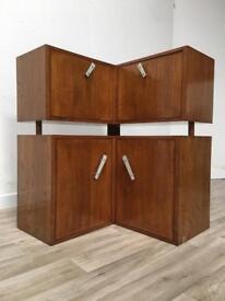 Vintage 1950s oak formica corner unit drinks cabinet desk cupboards