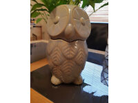 NEXT Home Embossed Owl Treat Biscuit Cookie Storage Jar NEW
