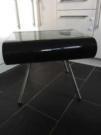 Black and clear glass coffee table