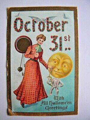 1910 HALLOWEEN Vintage Postcard - OCTOBER 31st - MAN ON THE MOON - BATS # 58