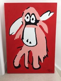 Beautiful original red and pink acrylic Moose painting by upcoming artist 100x70cm