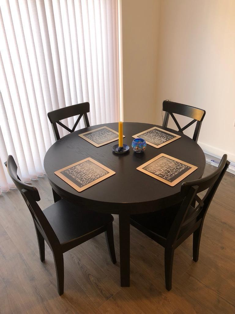 Ikea Bjursta Extendable Dining Table 4 Ingolf Chairs
