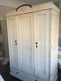 Antique Vintage French Wardrobe Collapsible Shabby Chic
