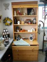 Pine Cabinet With Shelving and Drawers Country Cottage Home
