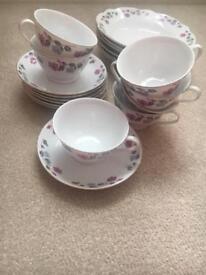 Vintage floral cups & saucers & side plates