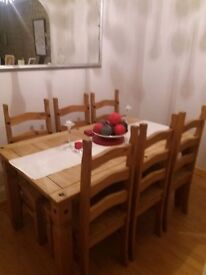 Mexican pine table and 6 chairs
