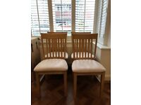 4 Wooden framed kitchen dining chairs