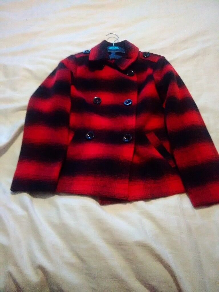 Girls red/black check double breasted dress coat size 10/11 years never been worn