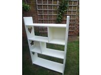 White wooden bookcase with heart/star cut-outs ,ideal for girl's bedroom