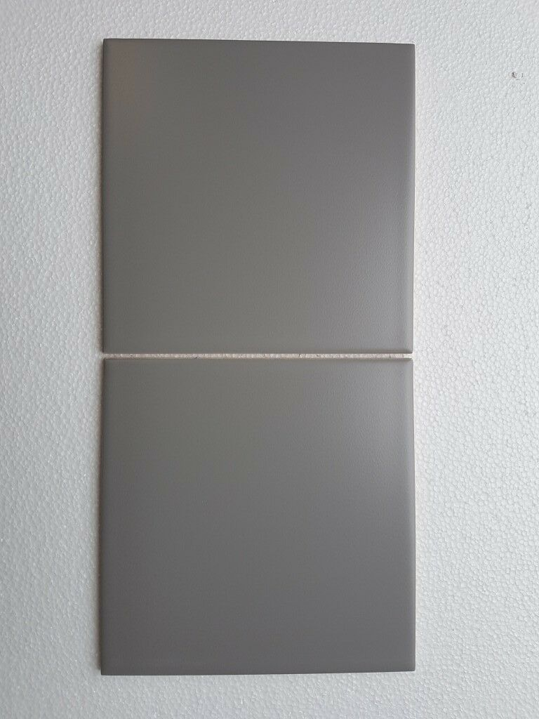 7m2 150x150mm Matt Mid grey ceramic wall tiles.