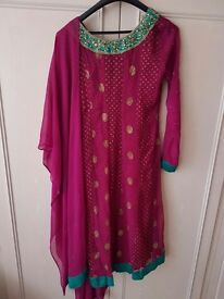 Pink anarkali suit with embroidery