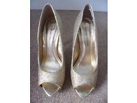 Dorothy Perkins Gold Peep Toe Shoes - Size 5