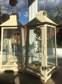 2 x cream tea light lanterns