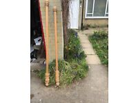 Wooden curtain poles x 2