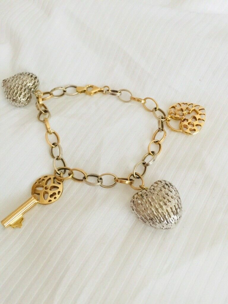 Genuine Italy Gold 14k 2tone Yellow And White With Charms Bracelet