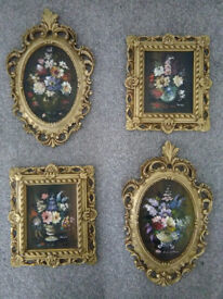 Vintage set of hand oil painted original antique pictures in Rococo gilt frames