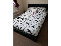 Kingsize bed frame and mattress