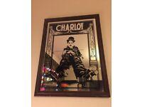 Large vintage Charlie Chaplin picture mirror