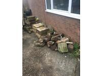Free - Paving slabs, stone, wood, garden table