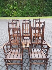 Ercol Dining Chairs - 2 Carvers & 6 Standard Dining Chairs