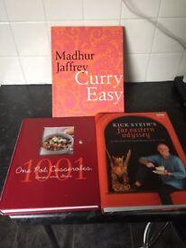 3 cooking books (Rick Stein, Madhur Jeffrey, Caserole)