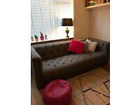 Grey 4 seater chesterfield fabric sofa Trafalgar DFS Grand size