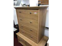 4 drawer oak chest - round handles