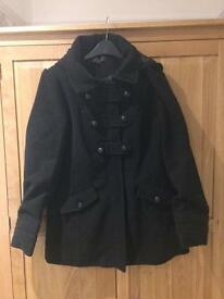 New look coat with hood black size 14