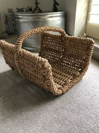 Wicker basket ideal for Kindling logs or magazines