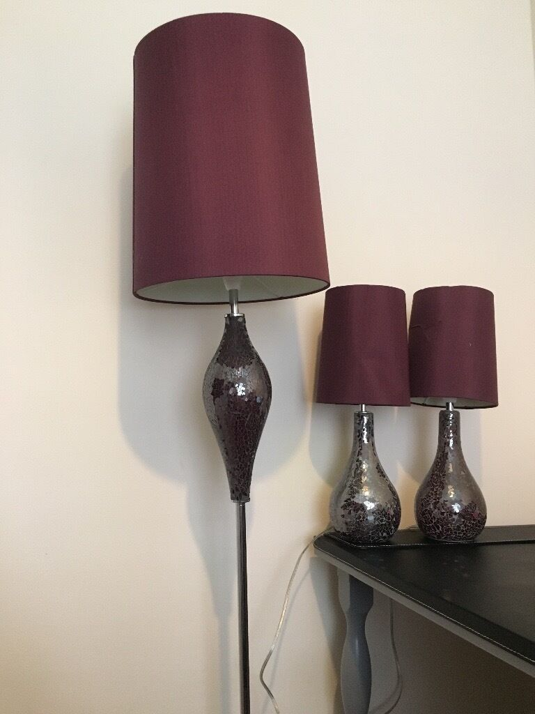 Matching floor and table lamps - Lovely Pair Of Next Plum Purple Crackle Table Lamps And Matching Floor Lamp