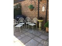 M & S cream metal garden chairs x 4