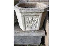 Stone Garden Pots With Tulip Pattern