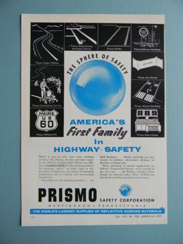 1954 PRISMO REFLECTIVE MARKING MATERIAL SALES ART AD
